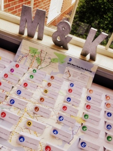 Escort card table based on NYC subway system