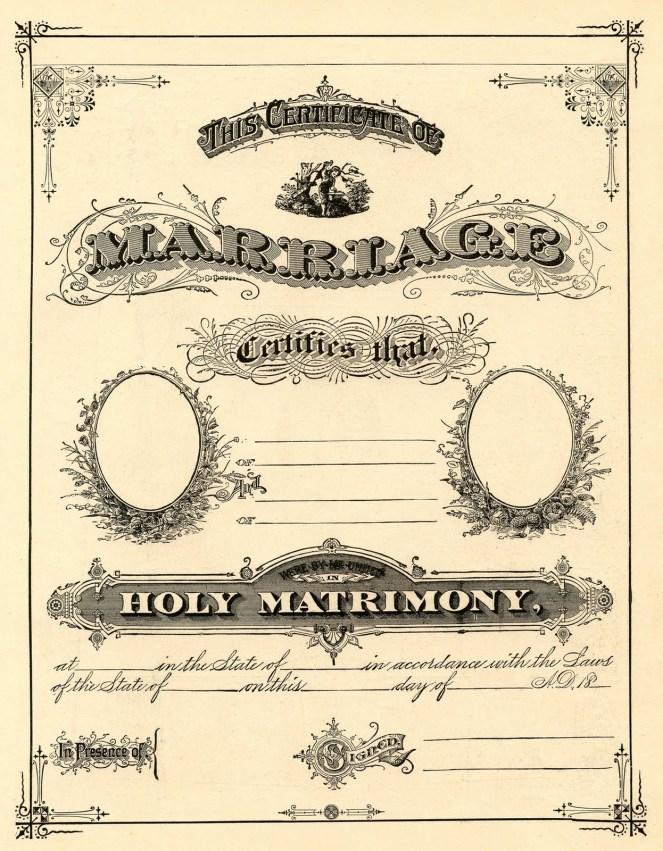 antique marriage cert