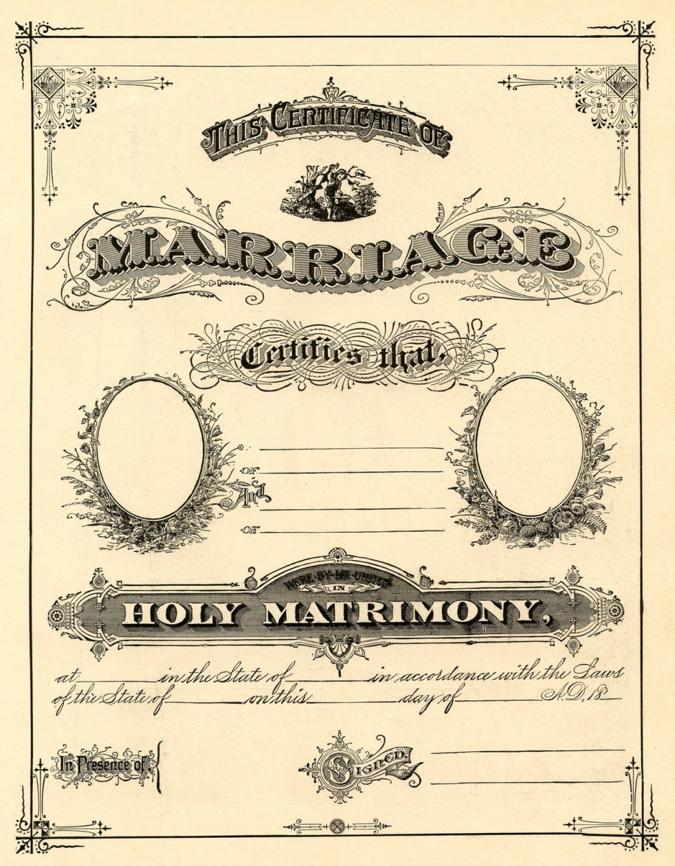 antique marriage cert